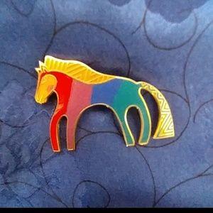 "Vintage 80s Laurel Burch horse Pin ""Caballo"""